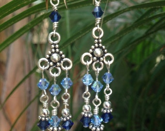 Blue Chandelier Earrings Blue Bridesmaid Earrings w/ Bali Style Sterling Silver and Swarovski® Crystal, French Earwire Leverback Clip On