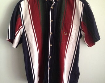 CLEARANCE Vintage 90's Color Block Button Down Oxford, Short Sleeve, Burgundy, Navy and Hunter Green, Size M