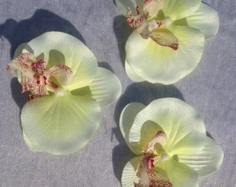 Set Of 3 Jumbo Orchid Flowers White Soft Yellow Artificial Flowers Scrapbooking Flower Embellishments Craft Flowers