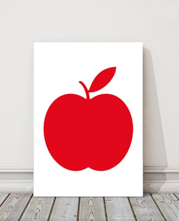Red apple printable art kitchen wall art by bamdesignshop for Red kitchen wall art