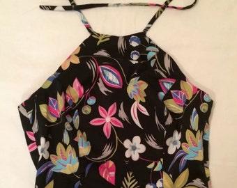 90s Black/Multicolor Floral Halter Top. Sz 4