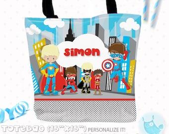 SALE Superhero boy Personalized Tote Bags, custom Tote bag, kids tote, school tote, kindergarten tote, beach tote bag, hero Tote Bags TB112