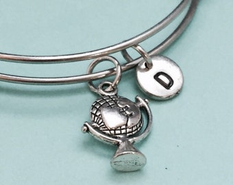 Globe bangle, globe bracelet, globe charm, world globe, personalized bracelet, expandable bangle, charm bangle, initial, monogram