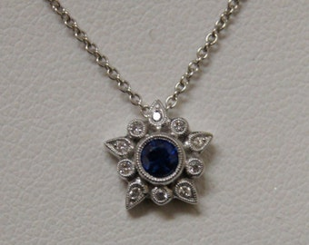 Edwardian Style 18 K White Gold Diamond and Blue Sapphire milgrained  Pendant with 16 inch white gold chain