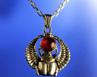 Winged Scarab Pendant with Carnelian Stone Sterling Silver