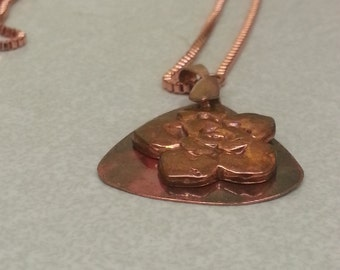 Copper Metal Clay Flower Pendant Necklace with Copper Disc