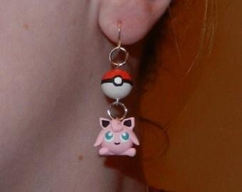 Cute Kawaii Polymer Cay Dangle Pokemon Jigglypuff Earrings