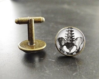 Steampunk Cufflinks Spinal cord and Pelvis cuff links Pelvic Anatomy Steampunk cuff links Spinal cord cufflinks Steampunk suit accessory