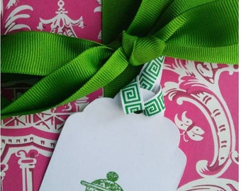 Green Ginger Jar Gift Tags Chinoiserie Hollywood Regency Party Supplies - Set of 6