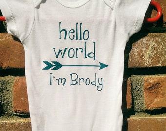 Personalized Boy's Hello World Onesie