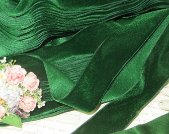 "1.5""  HUNTER GREEN ~ Vintage Swiss VEVLET Ribbon Garden Green Leaf Doll Dress Millinery Hat Supply Trim Cloche Cocarde Victorian Dress"