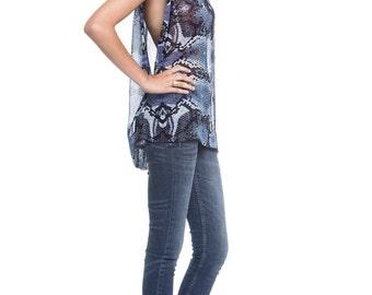 Sheer Chiffon Blouse, Oversized Chiffon Shirt, Blue Chiffon Blouse, Print Chiffon Blouse, Casual day wear