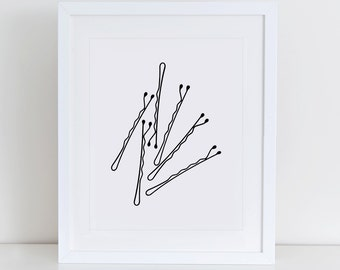 Bobby Pins Fashion Art Print, Instant Download, Printable Decor, Minimalist Art Print, Modern Fashion Print, Bobby Pins Printable
