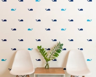 Whales Pattern Animals Kids Nursery | Removable Wall Decal Sticker | MS175VC
