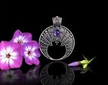 Lunula. Moon Crescent Necklace pendant jewelry. Slavic pendant Moon, sterling silver 925. Feminine charm. Natural gemstones