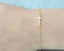 Delicate Gold Cross bracelet, baby boy/girl christening bracelet, Baptism bracelet, Skinny gold cross bracelet