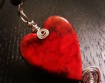 Twisted Heart Wire-Wrapped Pendant
