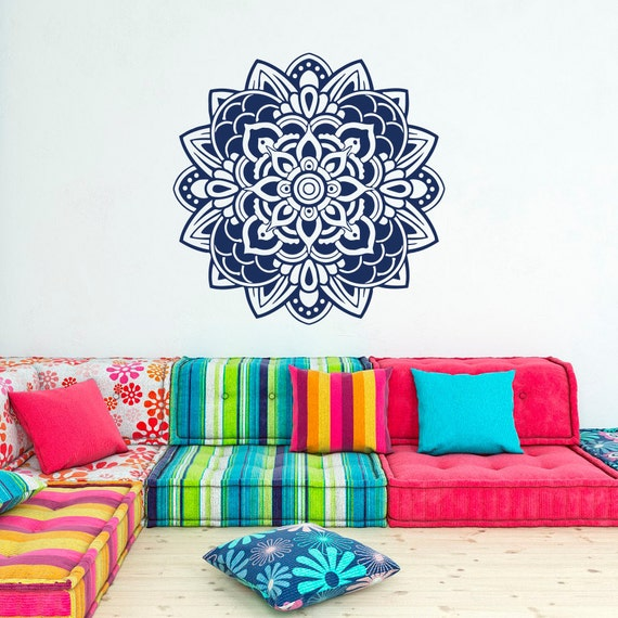 Ti Design Wall Art : Mandala wall decal sticker yoga decals lotus flower indian