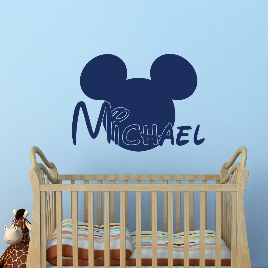 boy name wall decal mickey mouse ears wall decals by. Black Bedroom Furniture Sets. Home Design Ideas