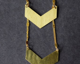 Double Chevron Necklace on brass chain