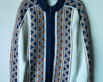 Vintage Southwestern Cardigan Zip Sweater M