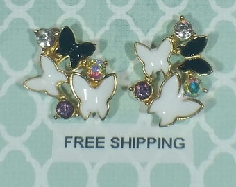2 pc Butterfly Cluster Black / White / Gold Alloy Charm Nail Art or Crafts *Free Shipping*