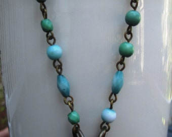 Unique rust and green washer industrial found object necklace