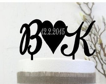 Acrylic Cake topper Wedding Personalised Initials for Cake with & or heart
