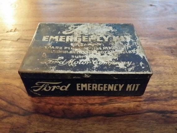 Rare Vintage Ford Motor Company Emergency Kit Small Metal Tin