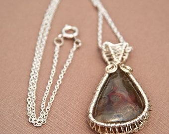 Stunning Handmade Wire Wrapped Crazy Lace Agate, Silver Plated Wire Wrapped Crazy Lace Agate Pendant, Silver Plated Chain, 18 Inch Chain
