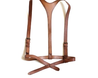 """Tan leather harness """"Timeless classics"""", fashion harness women, body harness suspenders"""