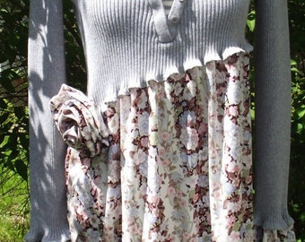 Rose and Grey Sweater Tunic. Skirt attached at an angle with Lettuce hem and lovely rose details. Could be worn layered for a great look.
