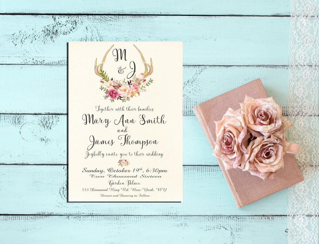 Deer Wedding Invitations: Deer Antler Wedding Invitation Pink Floral Rustic Wedding