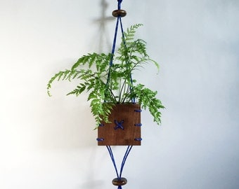CINCH Small Walnut Wood Hanging Planter with Blue Paracord