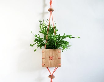 CINCH // Cherry Wood Hanging Planter with Orange Paracord