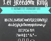 "Chalkboard Font- digital font-handwritten font- commercial use font- ""Let Freedom Ring""- True Type Font, Open Type Font"