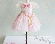 Blythe Pink Dress, outfit, Lace Clothes 1/6 Doll Miniature Vintage rustic lovely party mori kawaii handmade doll clothes with belt socks