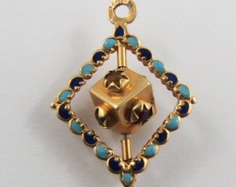 Cube With Stones Mechanical 18K Gold Vintage Charm For Bracelet
