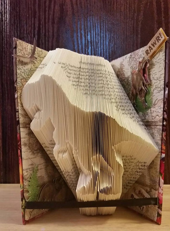 T-rex Dinosaur book folding pattern and FREE TUTORIAL