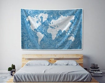 How to hang fabric on wall best how to hang fabric on wall with how great world map tapestry paisley in blue fabric art print wall hanging with how to hang fabric on wall gumiabroncs Gallery