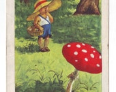 Soviet Postcard of 1957 - Vintage soviet ukrainian postcard with child and mushroom (fly agaric)