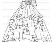 Ruffled Dress Digital Stamp