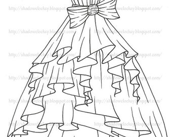 Ruffled Dress Digital Stamp