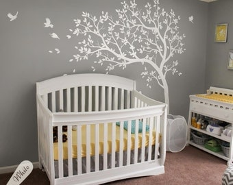 All White Nursery Tree Decals Unisex Multicolored Large Nursery Tree Decals  With Birds White Tree Decals