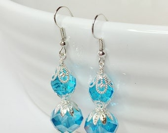 Aqua Blue Crystal Earrings Bridesmaid Gift Wedding Jewellery Mother of the Bride Blue Wedding Jewelery Blue Wedding Earrings