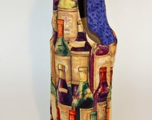 Wine Bottle Tote - reversible and insulated, wine bottle print
