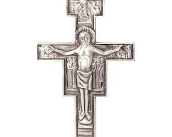 Franciscan Cross Crucifix. Metal San Damiano Cross Crucifix.