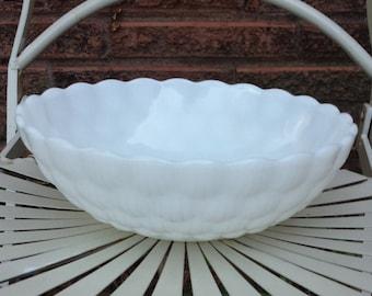 White Milk Glass Serving Bowl Bubble Pattern