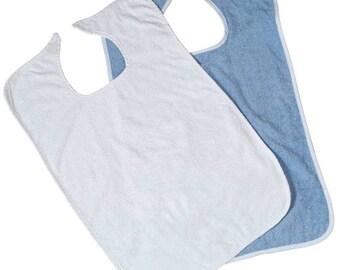 Bib Kit 1 Blue Terry Cloth 1 White Terry Cloth Adult Bib