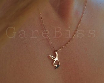 Tiny Silver Playboy Necklace
